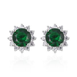 One Time Deal- Simulated Russian Diopside (Rnd), Simulated Diamond Stud Earrings (with Push Back) in Rhodium Overlay Sterling Silver