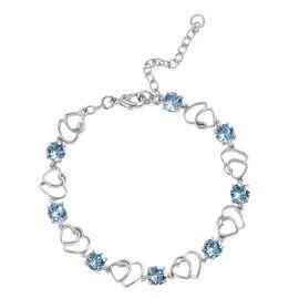 J Francis  - Crystal from Swarovski Aquamarine Colour Crystal (Rnd) Adjustable Heart Bracelet (Size 7.5 with 2 inch Extender) in Platinum Plated
