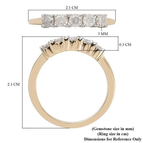 9K Yellow Gold SGL Certified Diamond (I3/G-H) Five-Stone Ring  0.50 Ct.