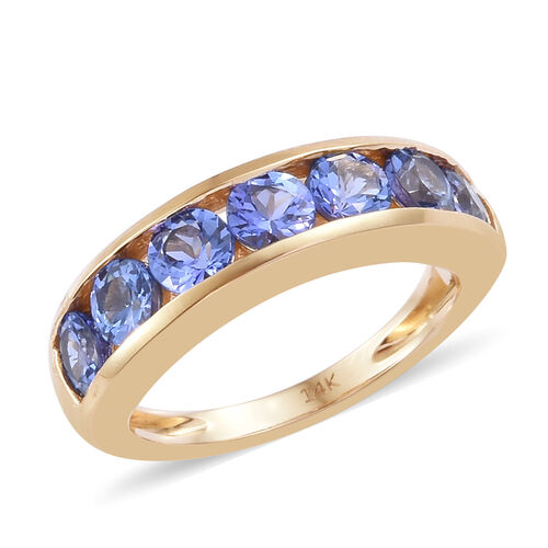 2 Carat AA Tanzanite Half Eternity Band Ring in 14K Gold 3 Grams