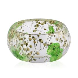 Handmade Green Colour Real Dried Flower Resin Bangle Size 8