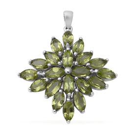 10 Carat AA Hebei Peridot Cluster Pendant in Rhodium Plated Sterling Silver