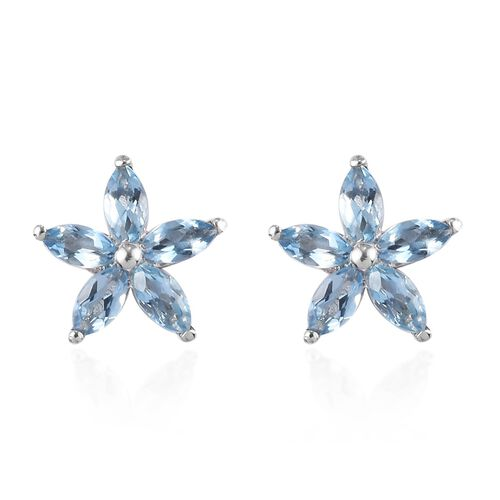 Santa Maria Aquamarine Floral Earrings (with Push Back) in Platinum Overlay Sterling Silver 1.00 Ct.