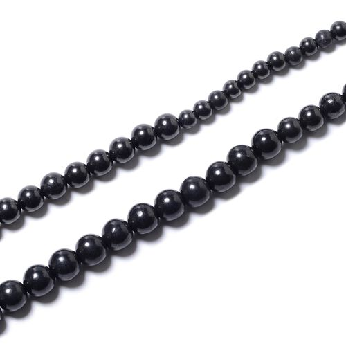 Shungite (Rnd) Beads Necklace (Size 20 Graduated ) in Rhodium Overlay Sterling Silver with Magnetic Lock 183.80 Ct.