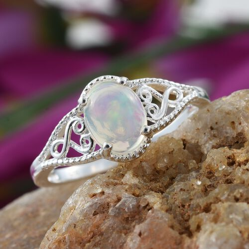 Ethiopian Welo Opal (Ovl) Solitaire Ring in Sterling Silver 1.000 Ct.