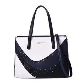 LOCK SOUL Leopard Pattern Convertible Bag with Shoulder Strap - WHite, Navy & Black