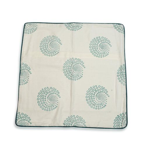 Hand Block Emerald Floral Printed Cushion Cover (Size 24x24 inches)