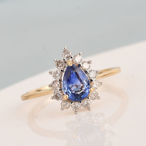 9K Yellow Gold AA Ceylon Blue Sapphire and Diamond (I3/G-H) Ring 1.00 Ct.