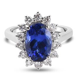 RHAPSODY 950 Platinum Tanzanite (Ovl) White Diamond Ring 5.00 Ct. Platinum Wt. 6.50 Gms.