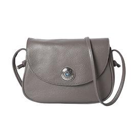 Super Soft 100% Genuine Leather Middle Size Litchi Pattern Crossbody Bag (Size 23x8x18cm) - Grey