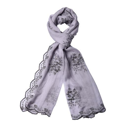 LA MAREY 100% Mulberry Silk Flower Embroidery Pattern Scarf in Grey (180x58cm)