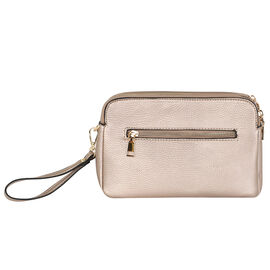 Kris Ana Triple Zipper Crossbody Bag (23x7x18cm) with Detachable Shoulder Strap- Rose Gold