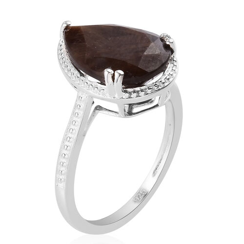 Zawadi Golden Sheen Sapphire Solitaire Ring in Sterling Silver 6.75 Ct.