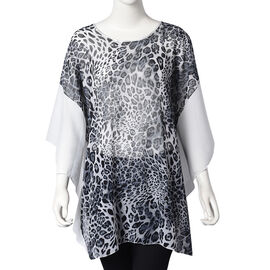 Leopard Pattern Poncho (One Size Fits All; 65x75 Cm) - Navy, Black and White
