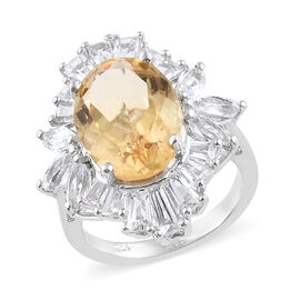 8.50 Ct Citrine and White Topaz Halo Ring in Platinum Plated Silver