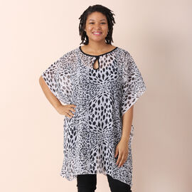 OTO - JOVIE Leopard Print Chiffon Kaftan in White (Size 90x90cm)