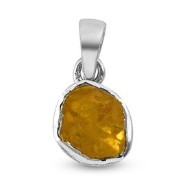 Artisan Crafted Polki Yellow Diamond Pendant in Platinum Overlay Sterling Silver