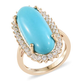 9K Yellow Gold AA Arizona Sleeping Beauty Turquoise (Ovl 25x10), Natural Cambodian Zircon Halo Ring 11.000 Ct.