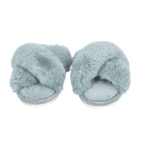 Super Soft Cross Band Faux Fur Slippers (Size L: 7-8) - Blue