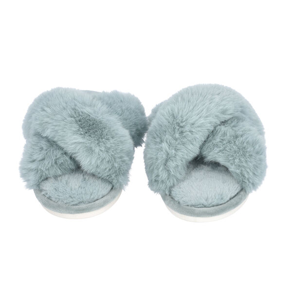 Super Soft Cross Band Faux Fur Slippers (Size L: 7-8) - Blue