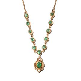 Premium Emerald Necklace (Size 18 with 2 inch Extender) in 14K Gold Overlay Sterling Silver 2.00 Ct.