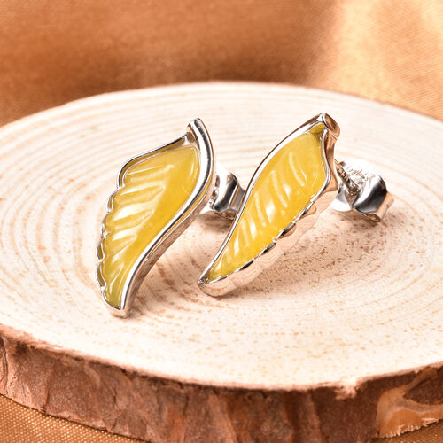 Isabella Liu Angel Wing Collection - Carved Yellow Jade Earrings (with Push Back) in Rhodium Overlay Sterling Silver 7.04 Ct.