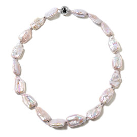 White Keshi Pearl Beaded Necklace in Rhodium Plated Sterling Silver 5 Grams 20 Inch