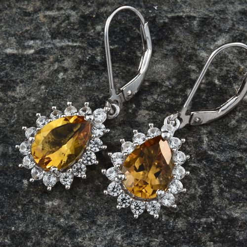 Collectors Edition- Heliodor (Pear), Natural Cambodian Zircon Lever Back Earrings in Platinum Overlay Sterling Silver 3.750 Ct.