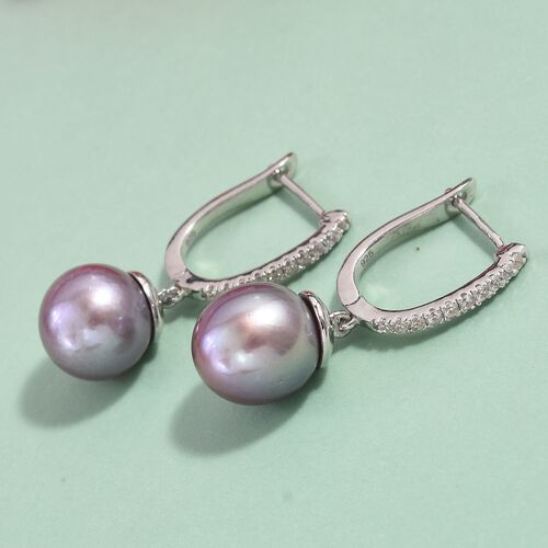 Purple Edison Pearl and Natural Cambodian Zircon Earrings (with Clasp) in Platinum Overlay Sterling Silver