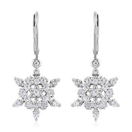 J Francis - Platinum Overlay Sterling Silver (Rnd) Star Lever Back Earrings Made with SWAROVSKI ZIRC