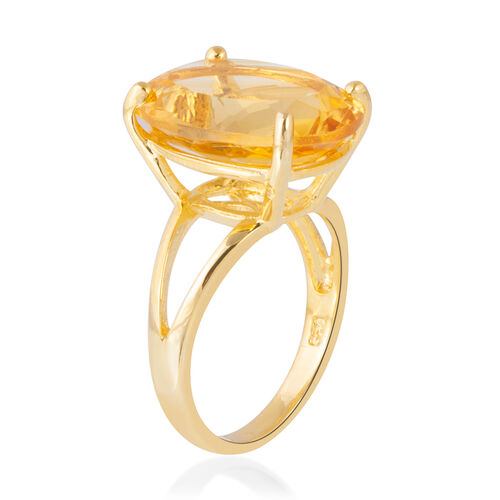 Citrine (Ovl 16x12 mm) Ring in Yellow Gold Overlay Sterling Silver 8.000 Ct.