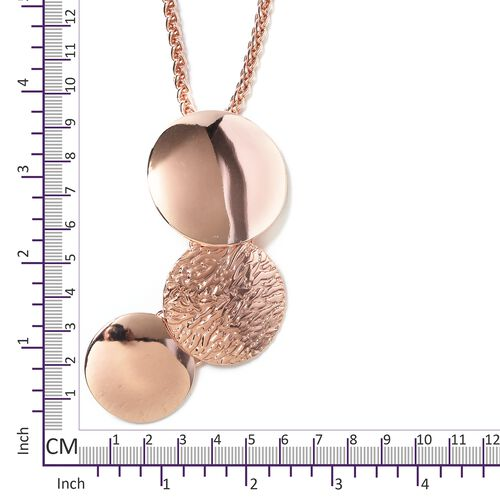 Rose Gold Plated Three Connected Circle Pendant  with Chain (Size 32 with 2.50 inch Extender)