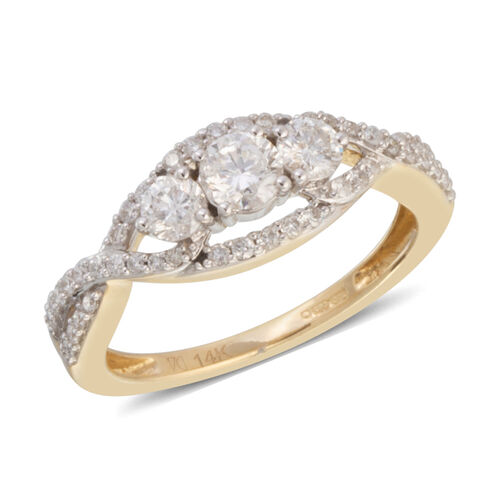 NY Close Out 14K Yellow Gold Diamond (Rnd) (I1-I2/G-H) Ring  0.900 Ct.Size N