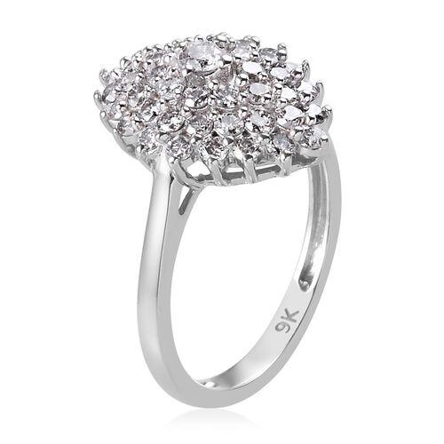 9K White Gold SGL Certified Diamond (I3/G-H) Cluster Ring 1.00 Ct.