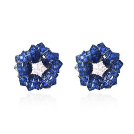 Lustro Stella - Simulated Blue Sapphire and Simulated Diamond Floral Stud Earrings (with Push Back)