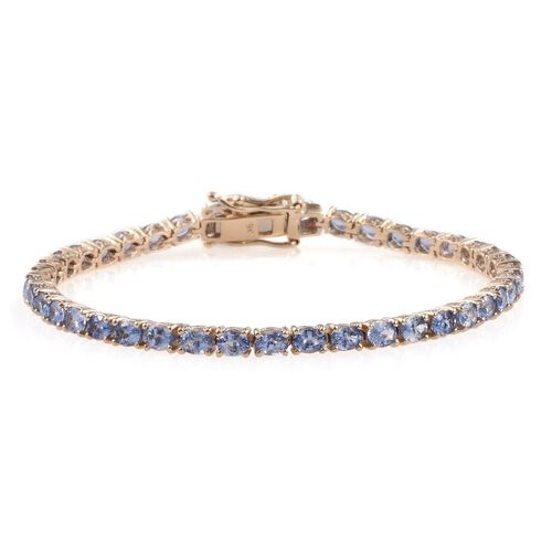 9K Yellow Gold 7 Carat Tanzanite Oval Tennis Bracelet - Size 7.