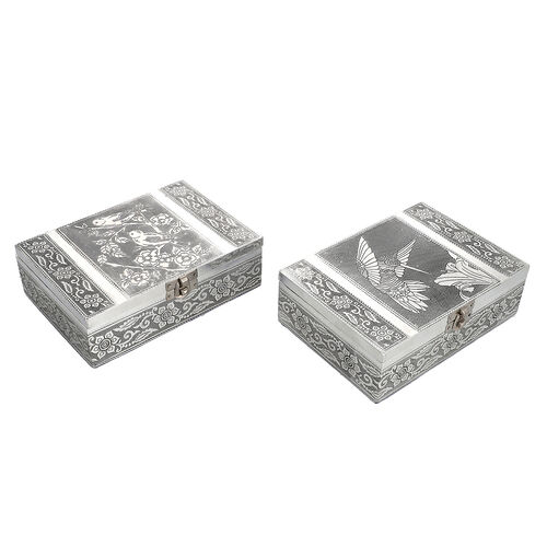Set of 2 - Humming Bird Embossed Jewellery Storage Box with Wine Red Velvet Lining (Size 17.7x12.7x5.08 Cm)