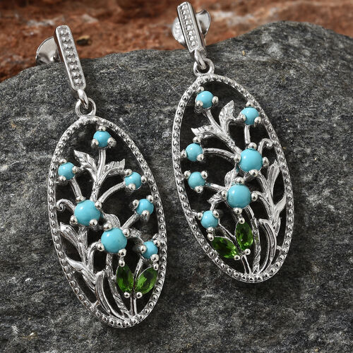 SLEEPING BEAUTY TURQUOISE (0.90 Ct),Russian Diopside Platinum Overlay Sterling Silver Earring  1.250  Ct.