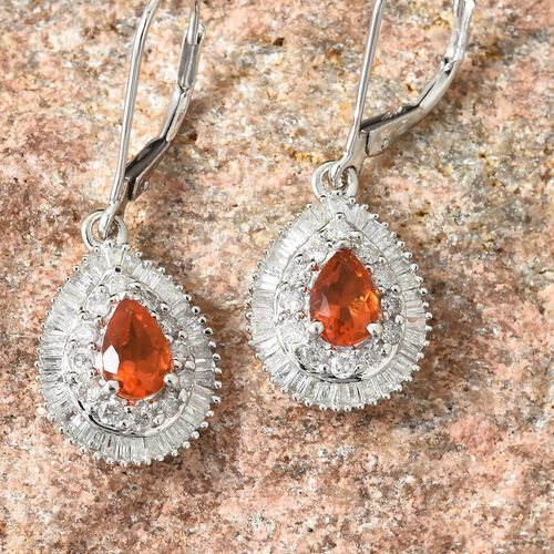 WEBEX- 9K White Gold Jalisco Fire Opal (Pear), Diamond Drop Earrings  1.400 Ct.