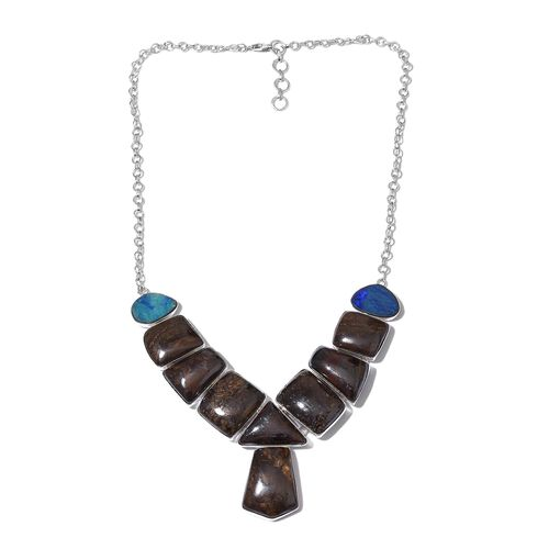 One Off A Kind- Boulder Opal Rock and Opal Double Necklace (Size 18 with 1 inch Extender) in Sterling Silver 263.700 Ct. Silver wt 24.26 Gms.