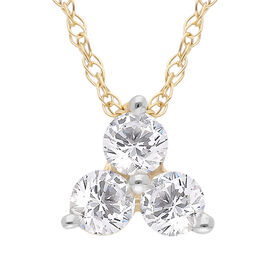 9K Yellow Gold SGL Certified Diamond (Rnd) (I3/G-H) Trilogy Pendant with Chain (Size 18) 0.25 Ct.
