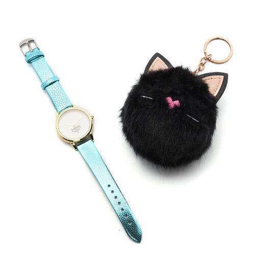 2 Piece Set - STRADA Japanese Movement Kitty Pattern Water Resistant Watch with Blue Strap and Kitty