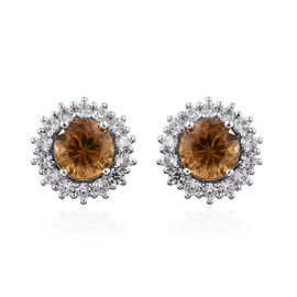 Golden Emerald (Rnd), Natural Cambodian Zircon Stud Earrings (with Push Back) in Platinum Overlay St