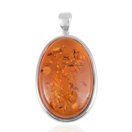 Amber Solitaire Pendant in Rhodium Plated Sterling Silver 50.01 Ct