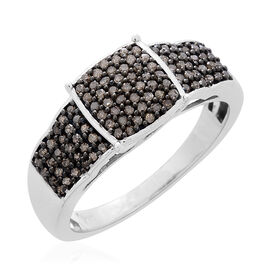 0.50 Ct Champagne Diamond Cluster Ring in Black Rhodium and Platinum Plated Silver