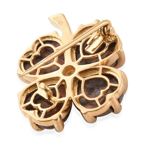 Poppy Jasper (Hrt), Diamond Brooch in Gold Tone 11.750 Ct.