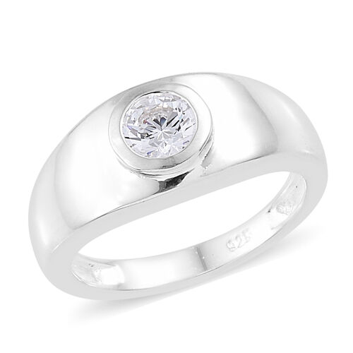 0.50 Carat Made with Swarovski Zirconia Solitaire Band Ring in Sterling Silver