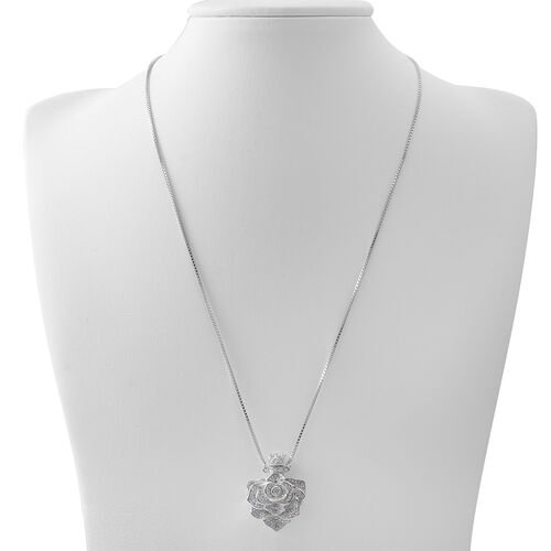 ELANZA Simulated White Diamond (Rnd) Adjustable Flower Necklace (Size 16 to 30) in Rhodium Plated Sterling Silver, Silver wt 17.17 Gms.