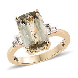 ILIANA 18K Yellow Gold AAA Turkizite (Cush 4.250 Ct), Diamond (SI/G-H) Ring 4.35 Ct.