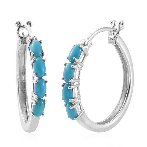 Arizona Sleeping Beauty Turquoise (Ovl) Hoop Earrings in Platinum Overlay Sterling Silver 1.500 Ct.